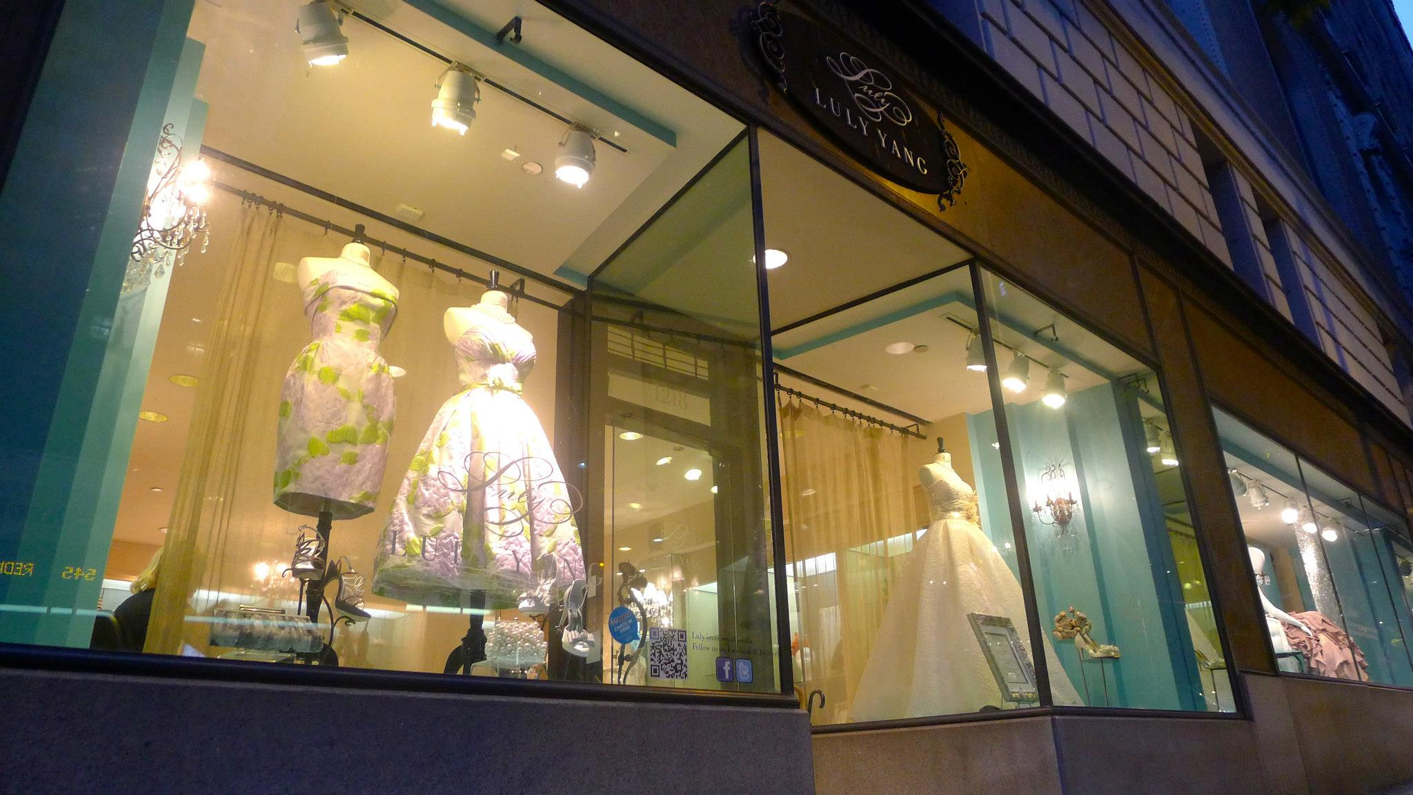 Window shopping at Luly Yang in Downtown Seattle.  Photo by Luly Yang Couture.