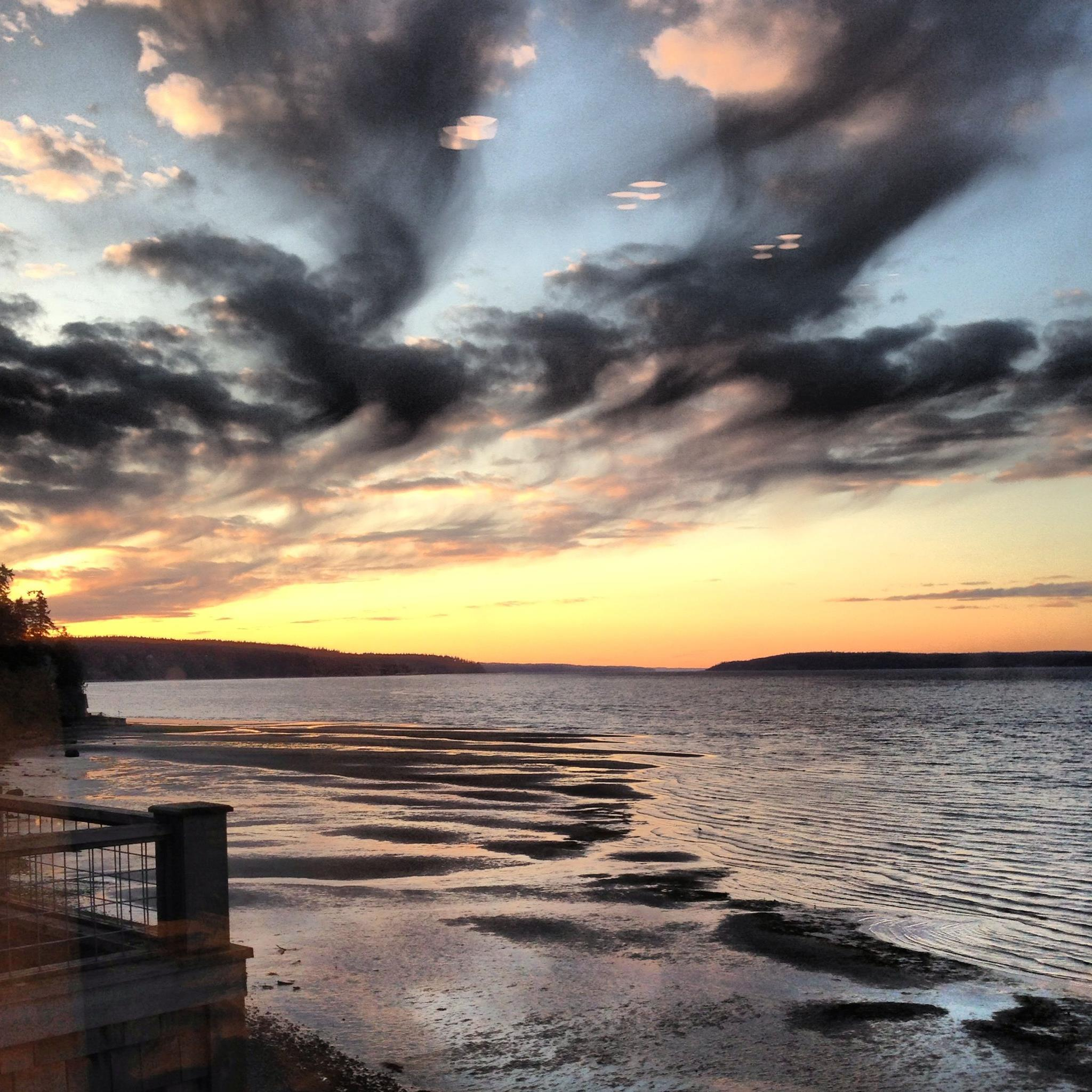 Sunset view on Whidbey Island from Inn at Langley guest room.  Photo by Inn at Langley.