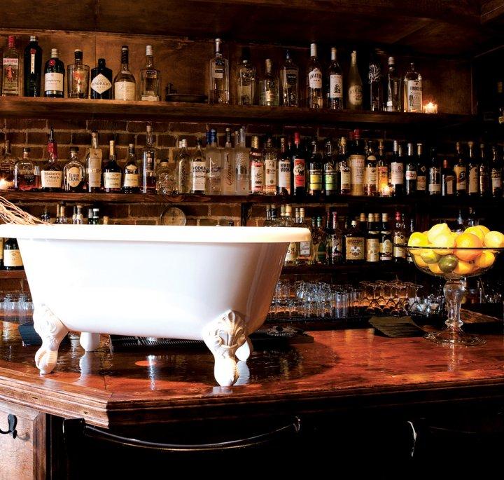 The bar and its namesake bathtub at Bathtub Gin. Photo by Bathtub Gin & Co.