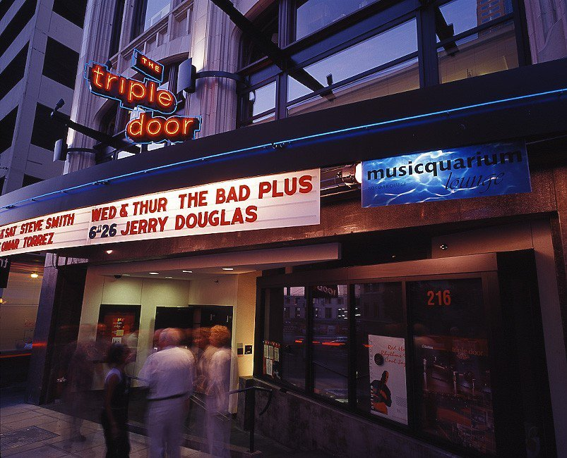 The Triple Door's marquee advertises upcoming shows.  Photo by The Triple Door.