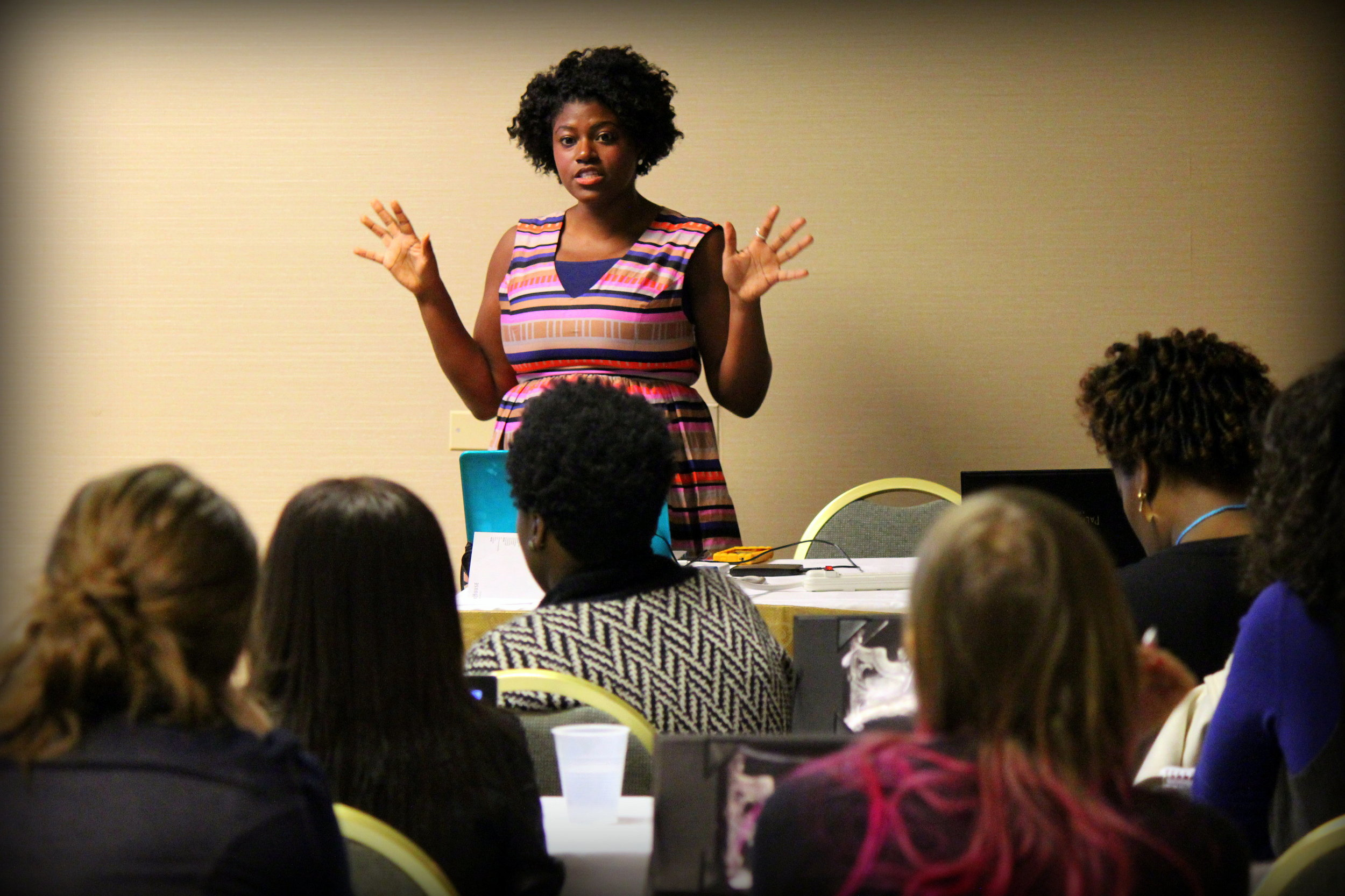 Bayyina Black leading a seminar on vlogging.  Photo courtesy of WITS.
