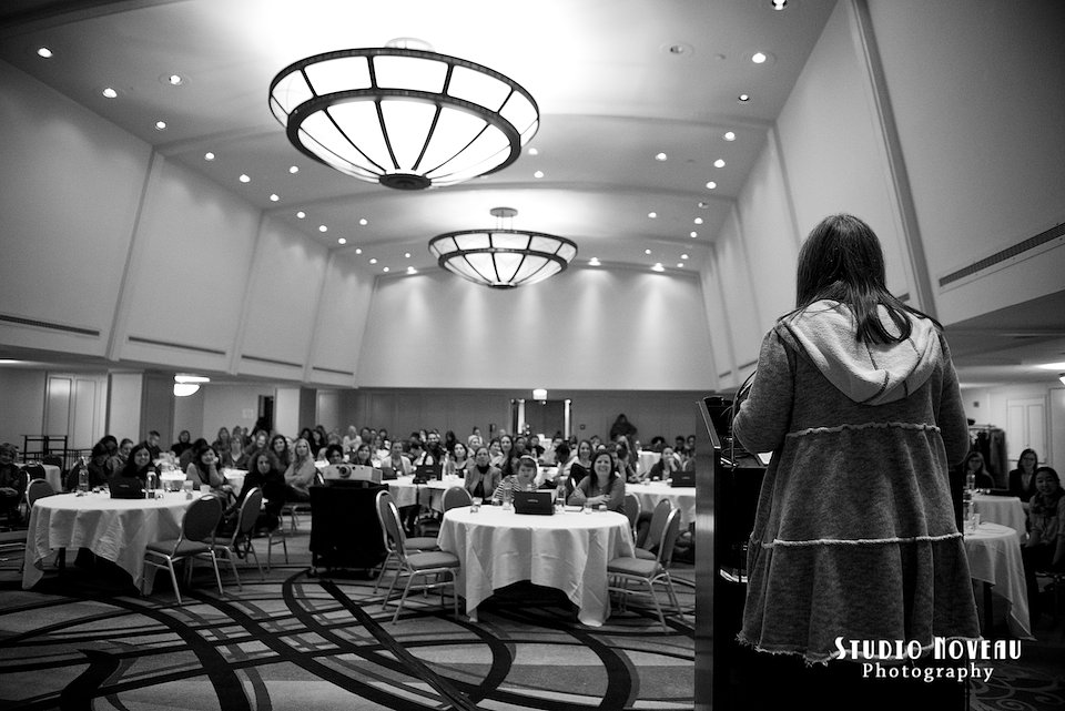 Evelyn Hannon giving the closing keynote speech.  Photo by Studio Noveau Photography.