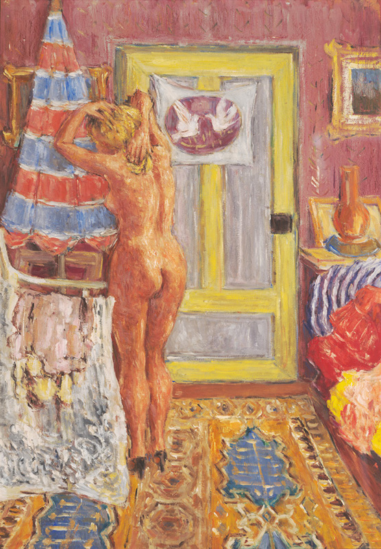 Nude in Boudoir with Doves