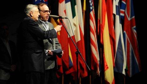 Peter Bogdanovich and Czech director, Jiri Menzel, open the Festival Photo: G.Srdanov