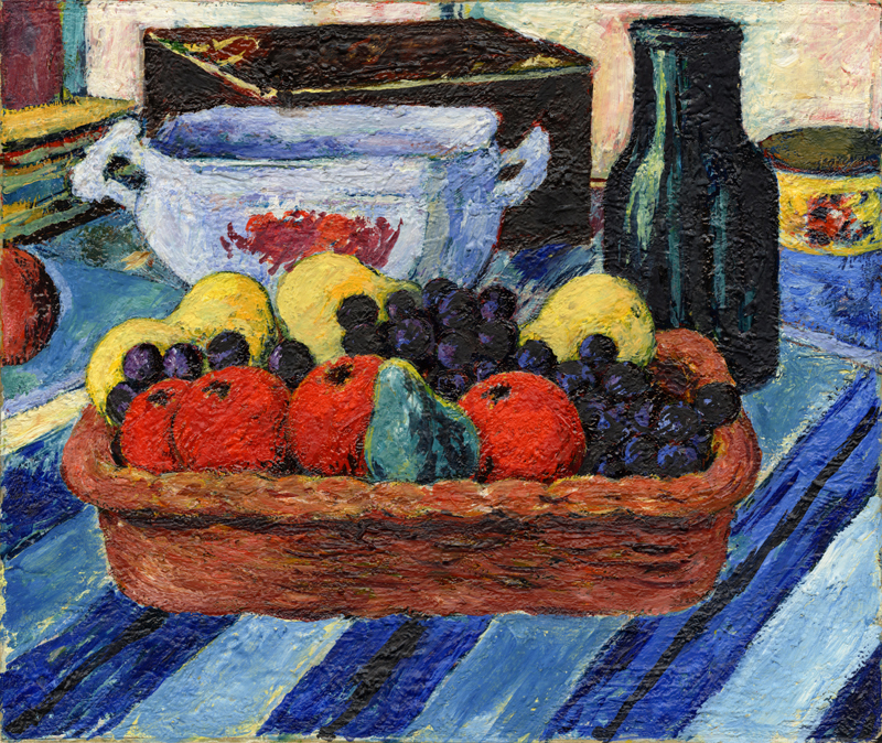 Fruit on Blue Striped Tablecloth