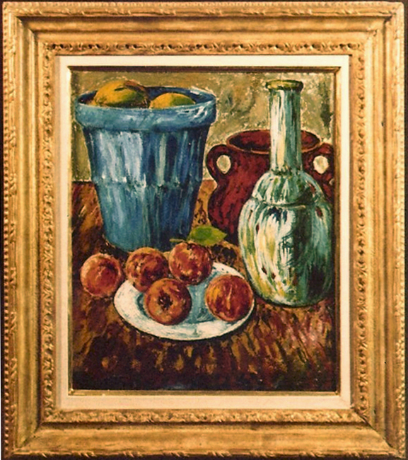 Five Peaches with Blue Basket and Green Bottle