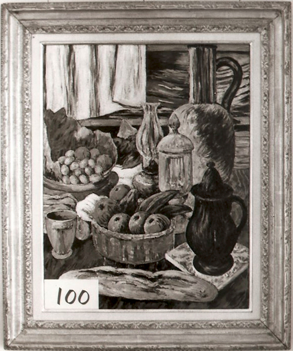 French Bread with Basket of Fruit and Carafe