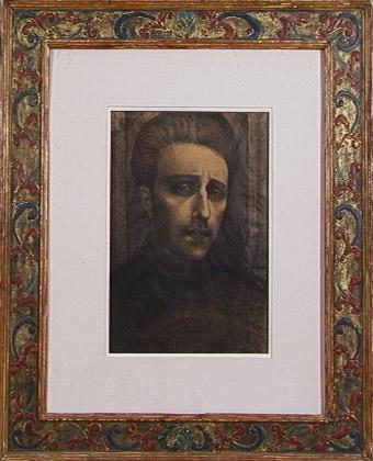 Self Portrait 1918  Raised Gesso Scraffito Gold Leaf frame by Herma Bogdanovich (c. 1960)