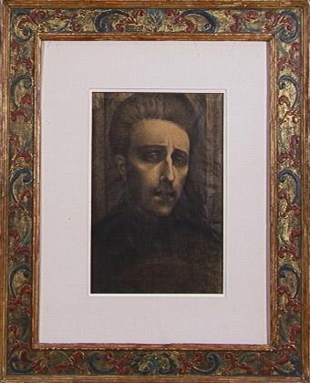 Self-Portrait at 19, Drawing, 1918 Raised gesso / sgrafitto frame Herma Bogdanovich (1960s)
