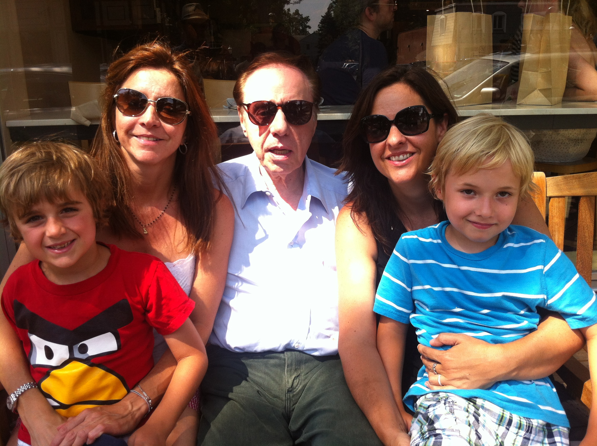 Peter Bogdanovich w daughter Antonia & son Maceo (Left); daughter Alexandra (Sashy) with son Levi (Right)