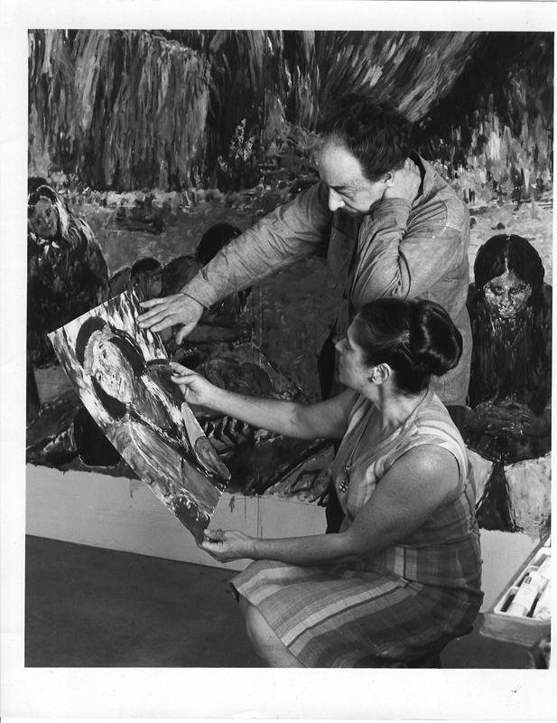 Borislav & Herma Bogdanovich study Native American sketch for Triptych