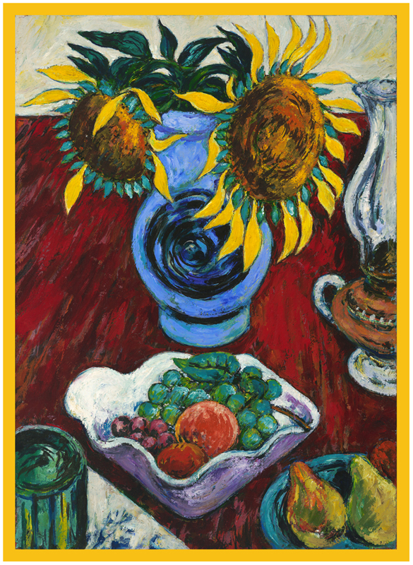 Sunflowers in Blue Vase c. 1948