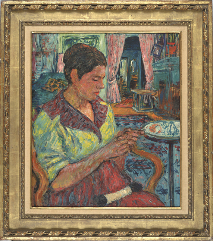 MRS. B KNITTING OIl on Panel  c. 1953