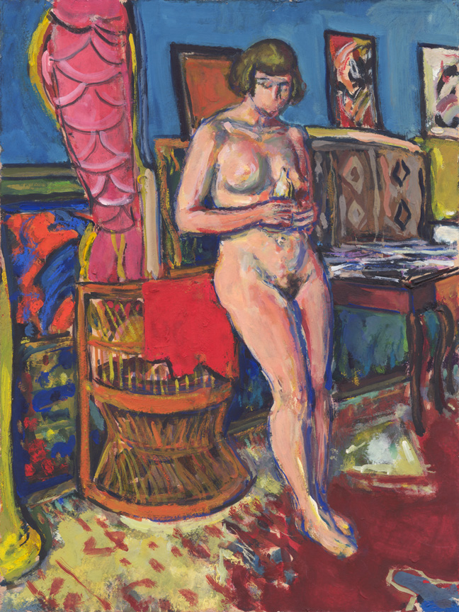 Nude Leaning on Wicker Chair, Gouache, c. 1938