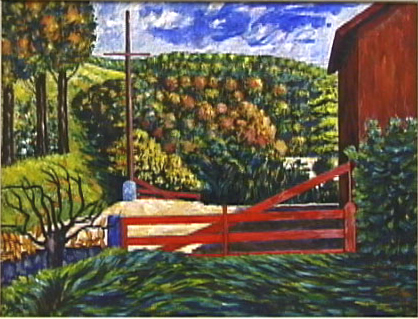 Red Barn, Oil on Canvas, c. 1940