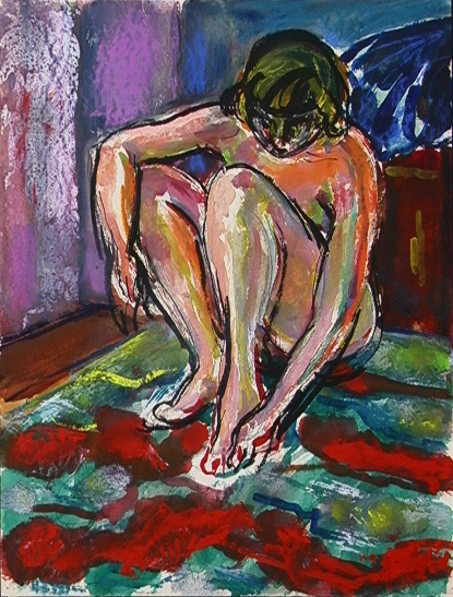 Nude on Striped Carpet, Gouache, c. 1938