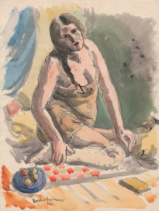 PICNIC Mixed Media on Paper, Signed LL, 1930, 15 1/2 x 11 1/2 in.     Loaned from Anna Thea Bogdanovich and the Bogdanovich Collection