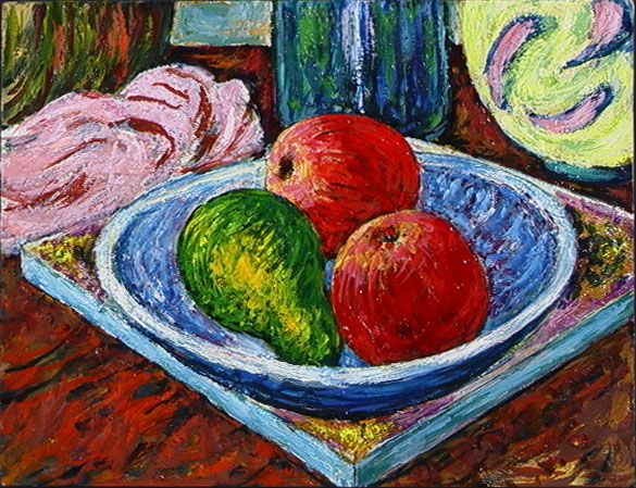 Pear and Apples in Blue Bowl