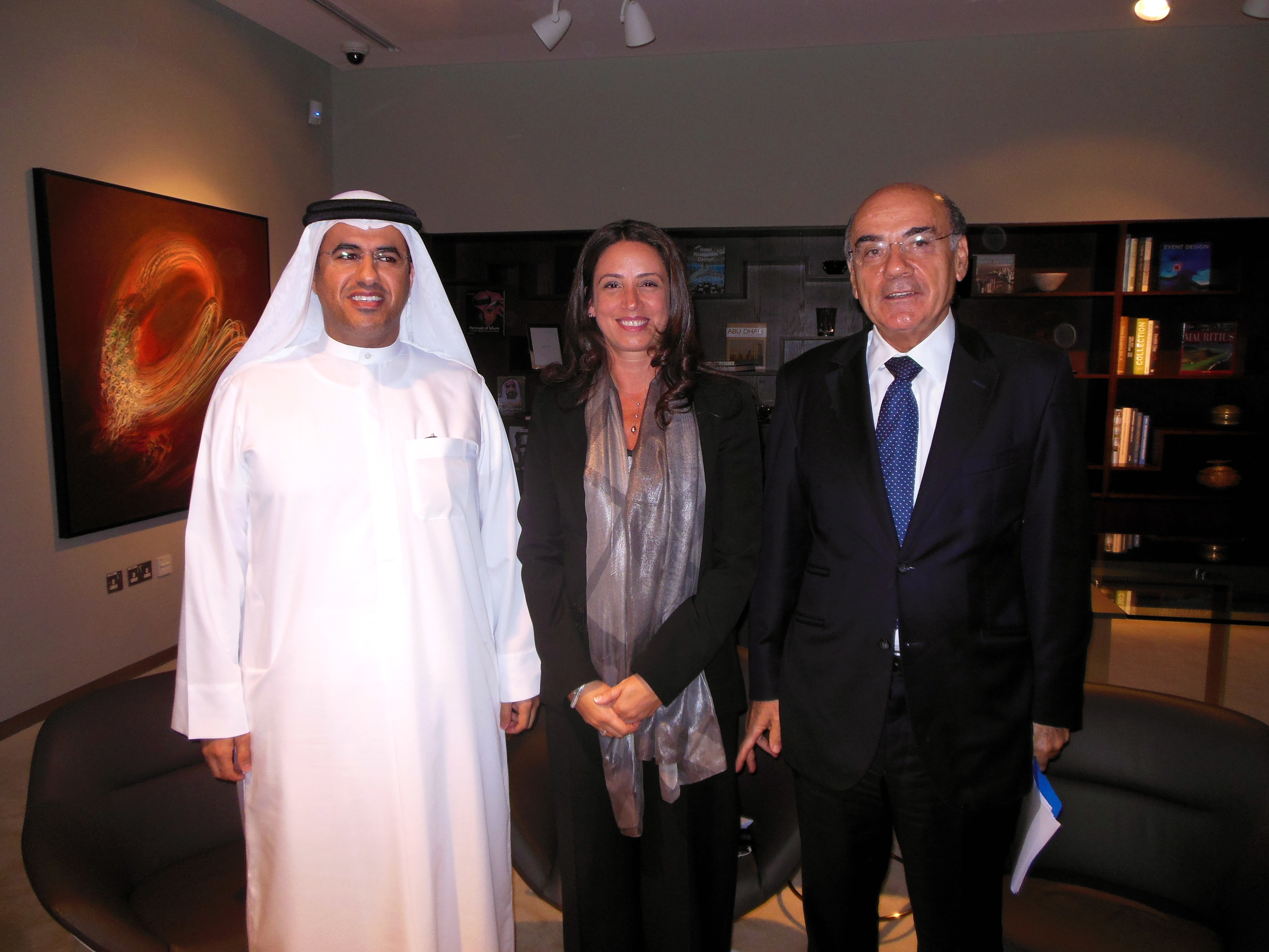 HE Mubarak Al Muhairi, Director General, Abu Dhabi Tourism & Culture Authority, HE Zaki Nusseibeh, Adviser Ministry of Presidential Affairs and Rita Aoun-Abdo, Executive Director, Culture Sector, Abu Dhabi Tourism & Culture Authority. Photo: Lucy Rees