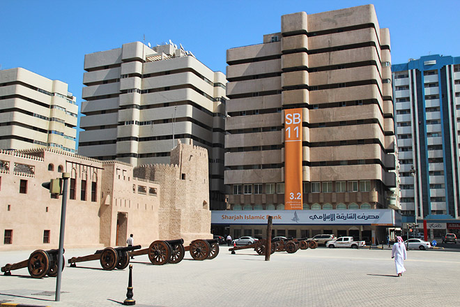 External view of the Sharjah Islamic Bank. Photo: Haupt & Binder.