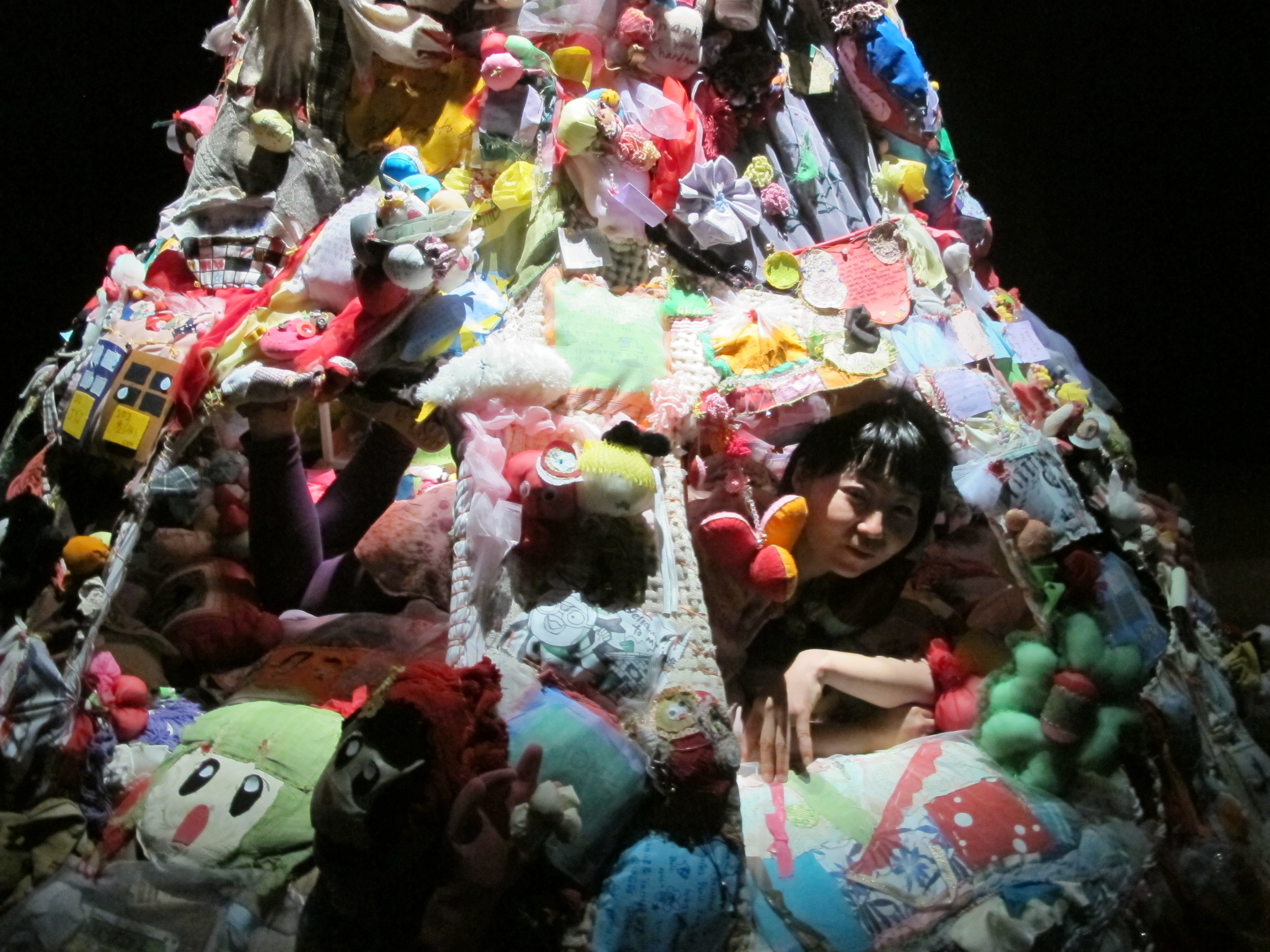 "Hiromi Tango inside her installation  Home,  2012. Tango took up a four week residency in Gwangju in collaboration with Craig Walsh working with local people to stitch and create a ""home."""