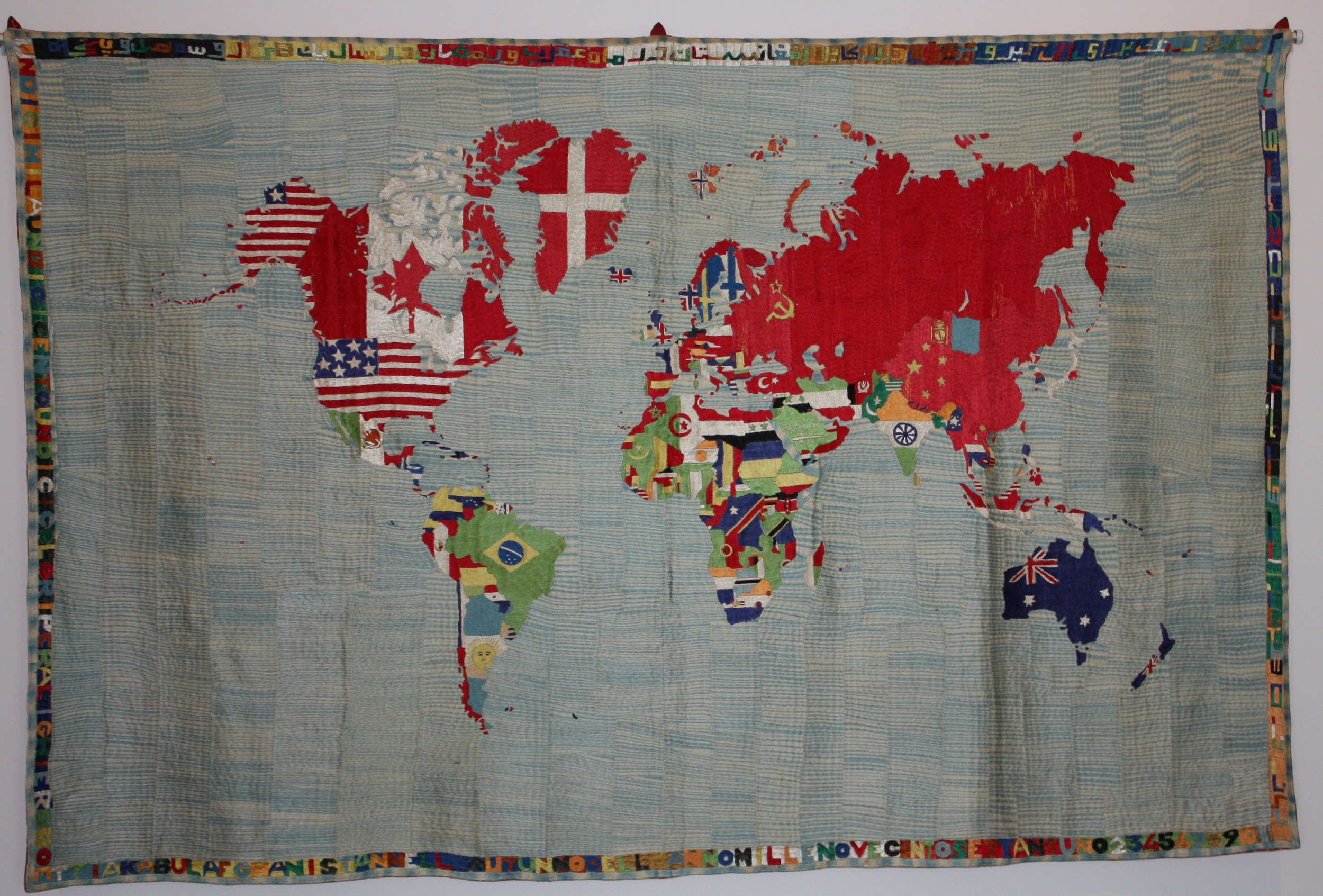 Alighiero Boetti.  Mappa. 1971. Embroided Tapestry. Made inAfghanistan. 147 x228 cm. Fridericianum.© Lucy Rees