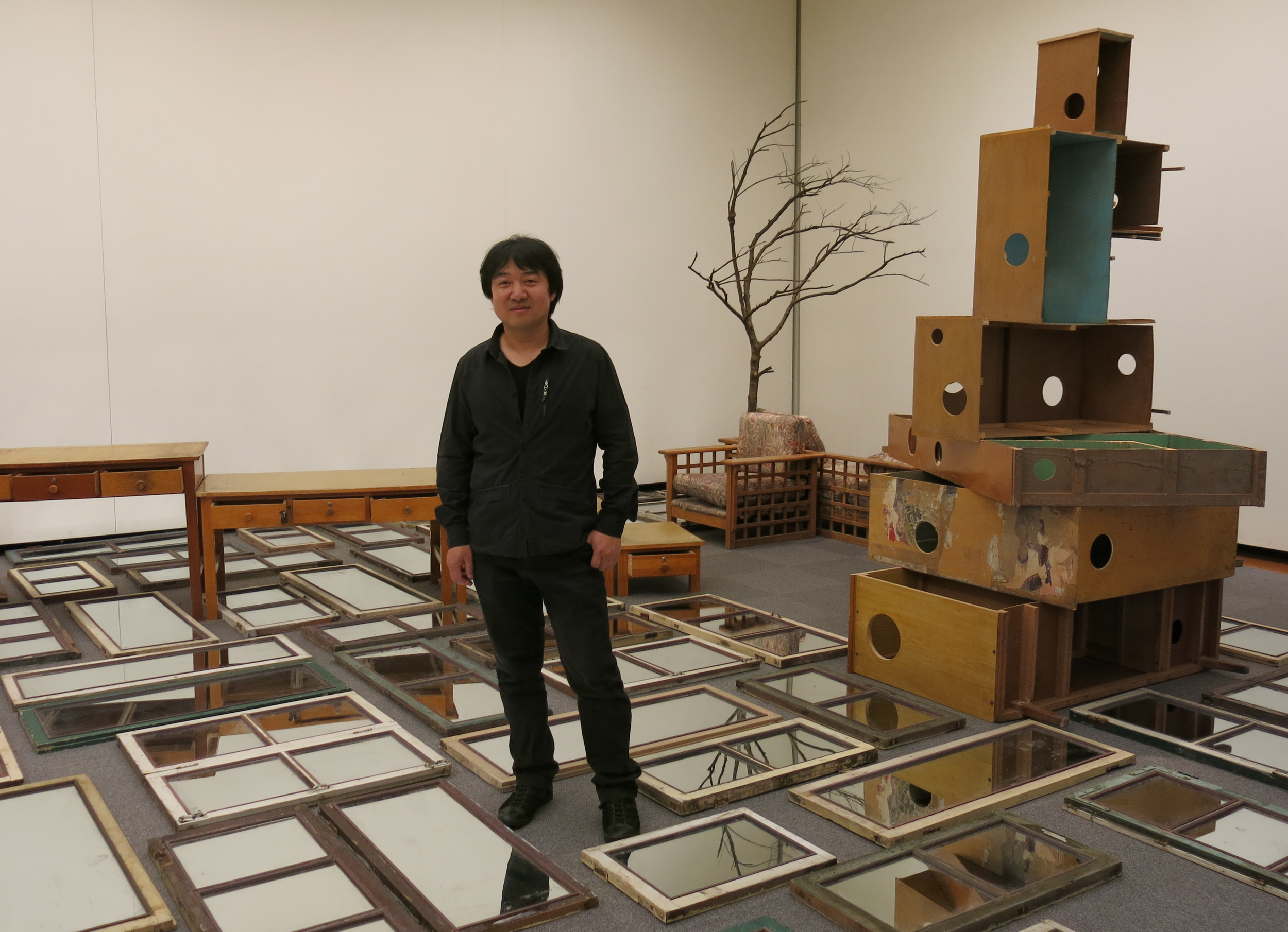 "Song Dong  with his installation "" Wisdom of the Poor""  2010-2013, a work the artist has been developing for years which   looks at the importance of borrowing. He believes people work in the same way as politics, moving their borders and territories to claim more power. Aichi Prefectural Museum of Art."