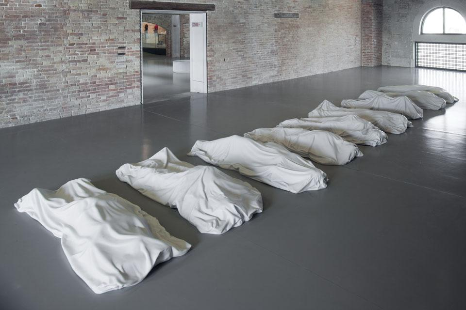 "Maurizio Cattelan.  All, 2008. 9 sculptures, white Carrara marble ""P"". Install view at 'In Praise of Doubt' 2011."