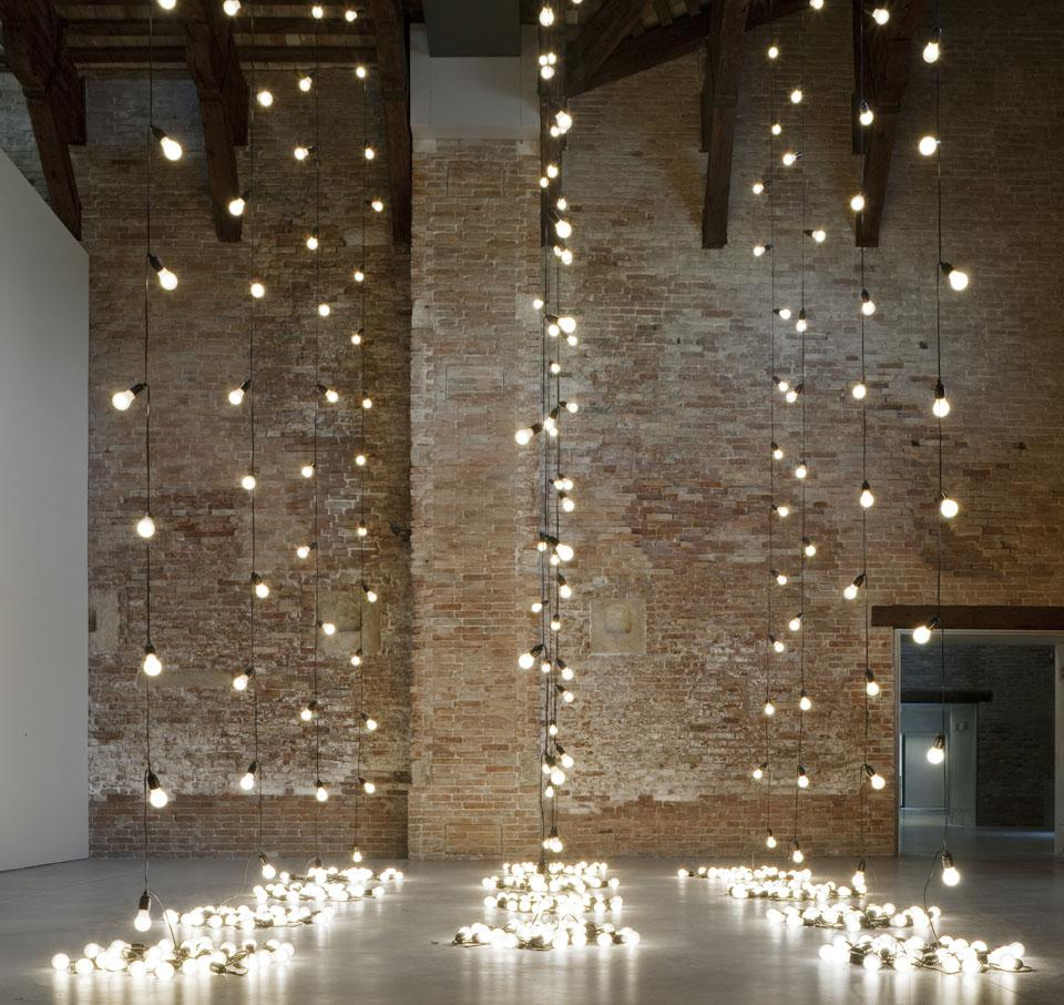 Sturtevant, Felix Gonzalez-Torres, AMERICA AMERICA, 2004. Light bulbs, rubber light sockets and cords, dimensions variable. Install view 'In Praise of Doubt' 2011.