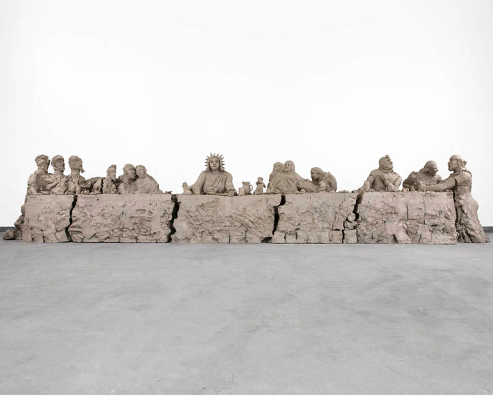 Urs Fischer, last supper, 2014. Cast bronze, 152 x 152 x 762 cm. Courtesy Gagosian Gallery.