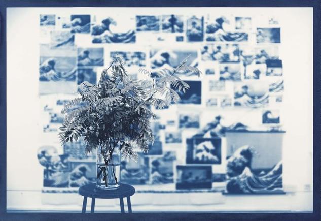 Ryan Gander,  Hokusai's Blues, 2014,Cyanotype, screen print with natural indigo pigment, Saunders 638g paper.135 x 195 cm ©Ryan Gander image courtesy of STPI.