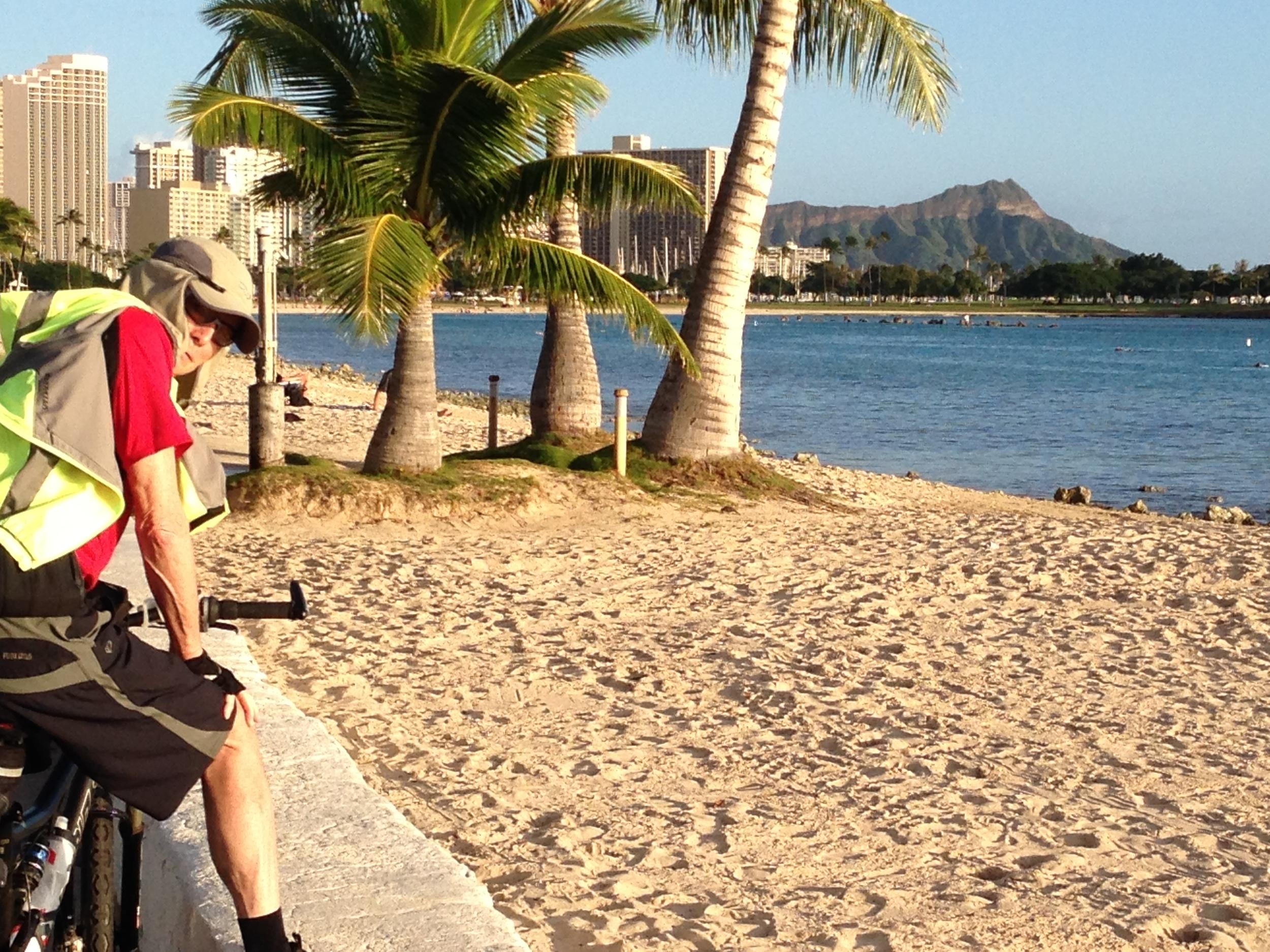 Jack riding his bike at his favorite neighborhood park, Ala Moana Beach Park.