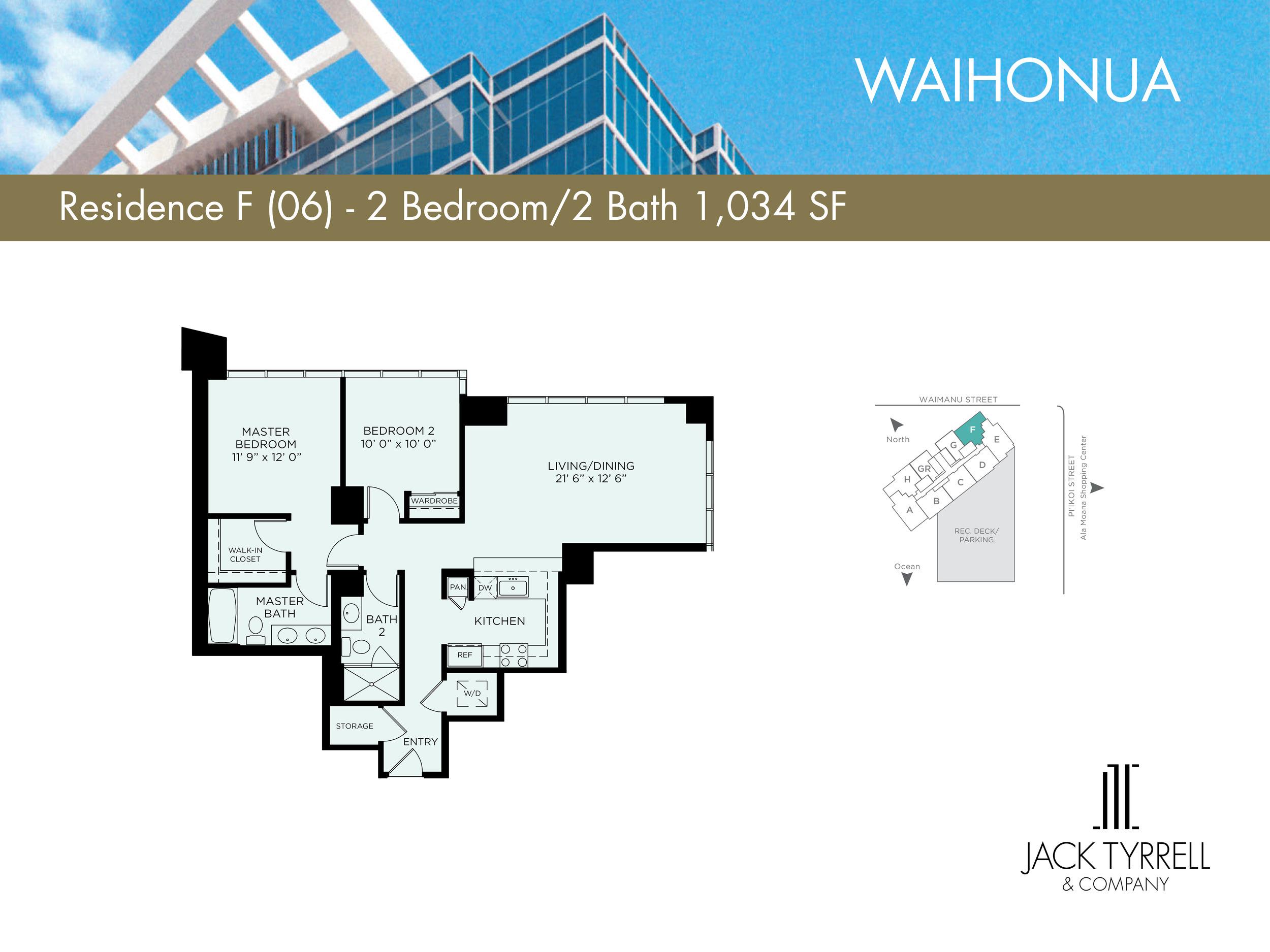Waihonua 05 Unit (E) Floor Plan -Estimated Monthly Maintenance fee is $899.73
