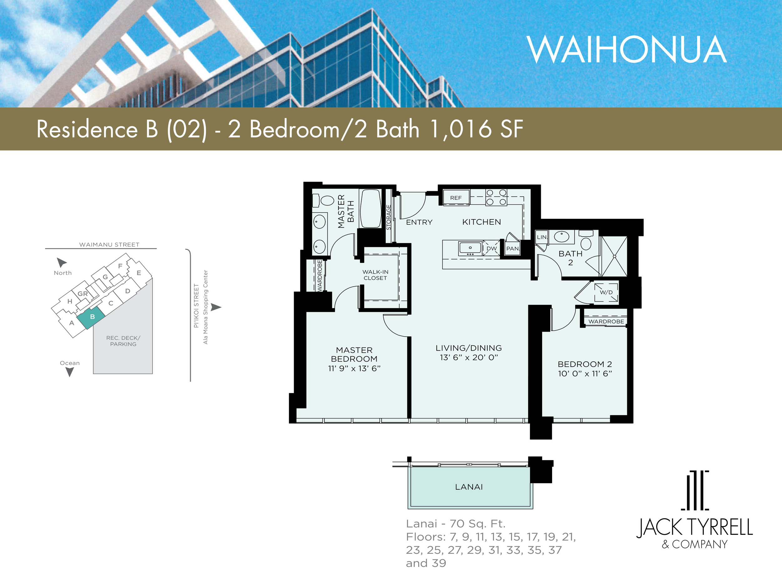 Waihonua 02Unit (B) Floor Plan -Estimated Monthly Maintenance fee is $910.05