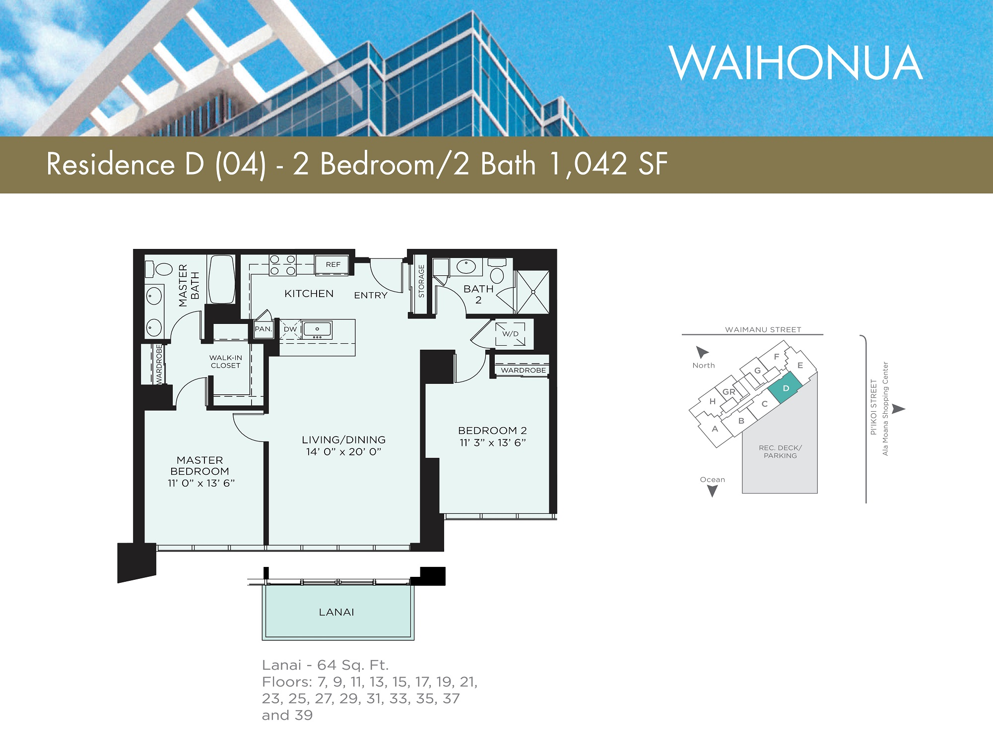 Waihonua 04 Unit (D) Floor Plan - Estimated Monthly Maintenance fee is $932.00