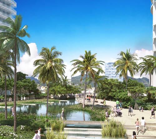 Rendering of future park proposed by the Howard Hughes Corporation.
