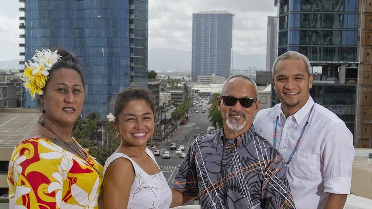From left: Hinaleimoana Wong-Kalu, Brandy-Alia Serikaku, Sig Zane and Kuhaʻo Zane of Sig Zane. Photo via Pacific Business News