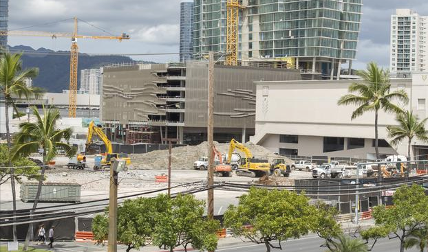 Koula, The Howard Hughes Corp's next mixed-use condominium project, is planned for a site on Auahi Street, next to the Ward Entertainment Center, site of the former warehouse buildings, which were recently demolished, as seen here.  Photo: Pacific Business News