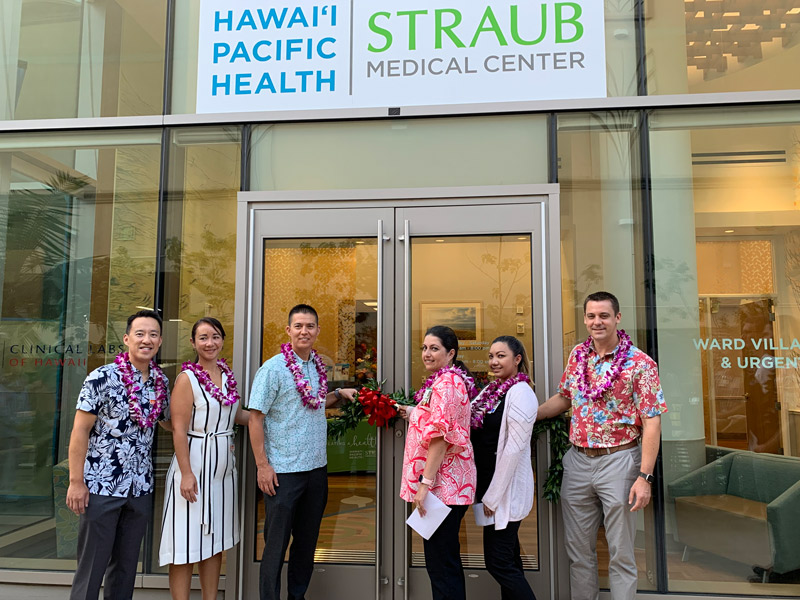 "Source: Straub Medical Center. Pictured left to right are  Drs. Jimmy Chen, Akolea Ioane and Katsuya ""Andy"" Iizuka , family medicine physicians at the new Ward Village clinic;  Tracy Damitio , clinic manager;  Shy Hirai , RN, clinic supervisor; and  Travis Clegg , COO of Straub Medical Center."