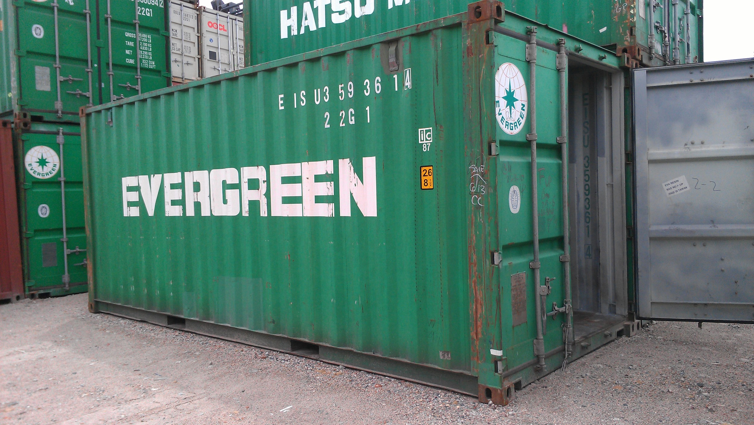 Used green 20' container