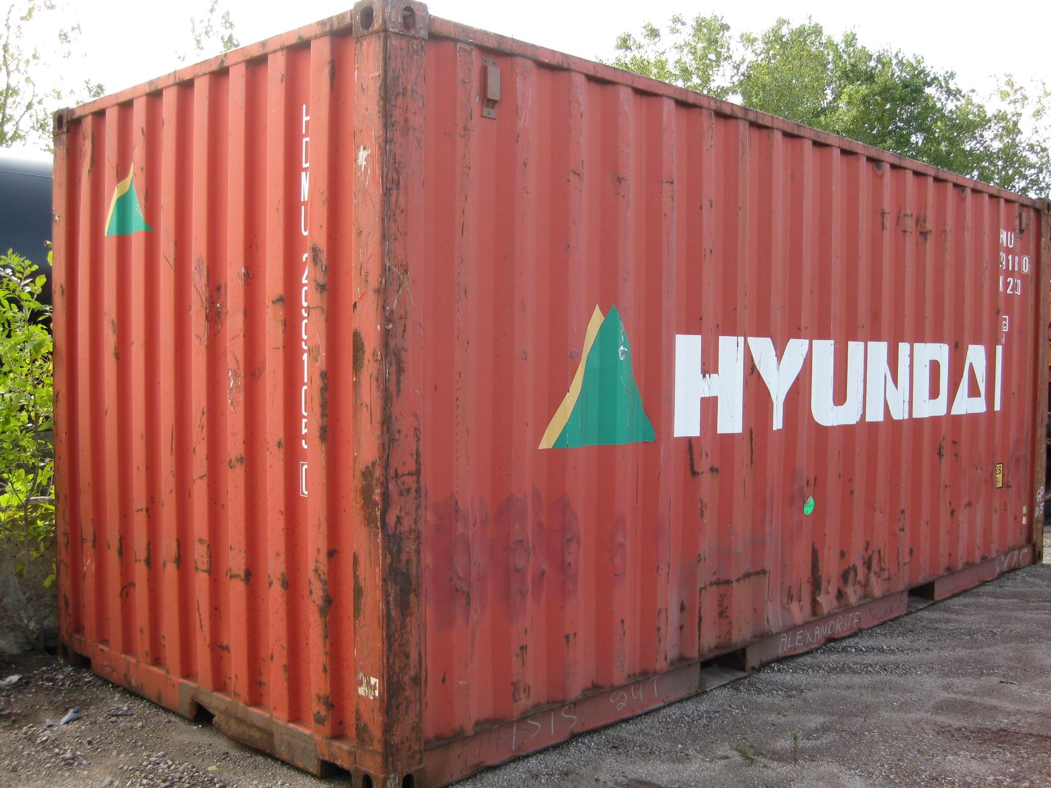 Used orange-red 20' container