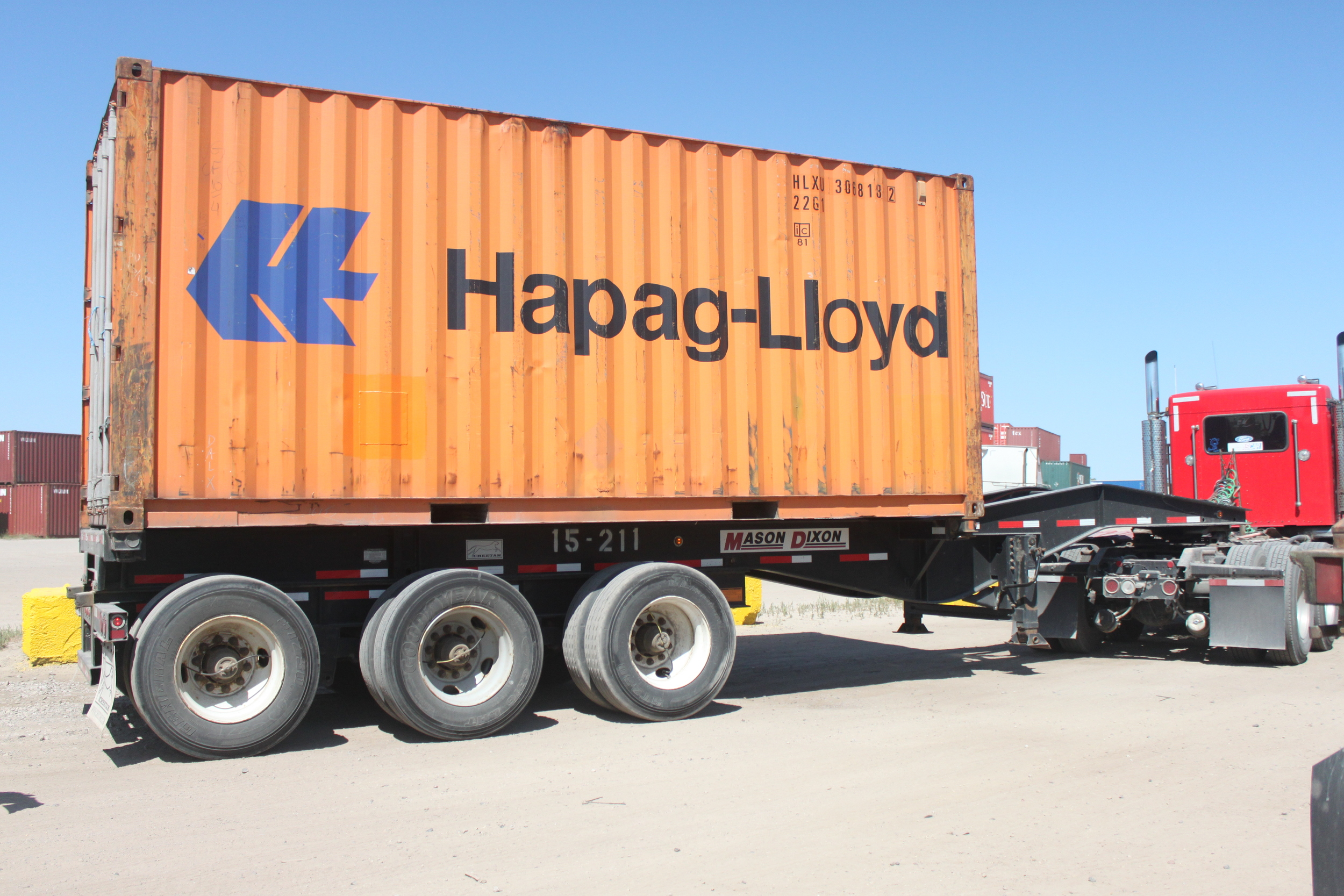 Chassis for bringing containers to and from the port or rail