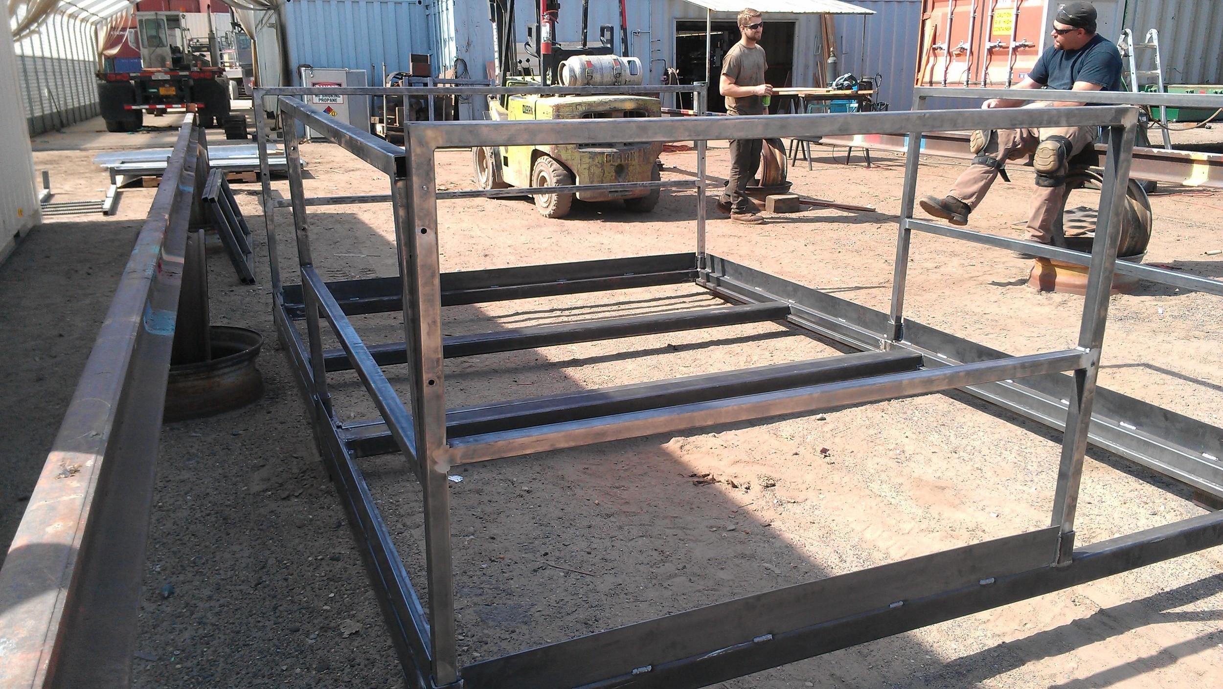 Platform frame with removable railing