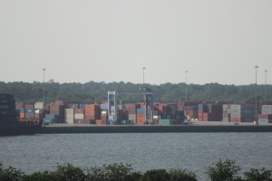 Containers pass through a port