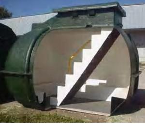 Pre-made 10-person tornado shelter from http://www.sheltersonline.com