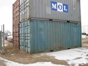 Used blue container