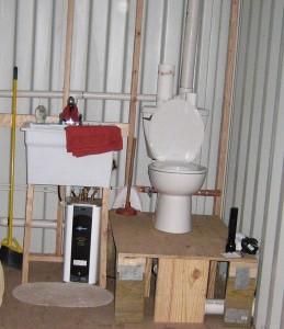 Plumbing sink and toilet
