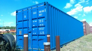 Painted blue container