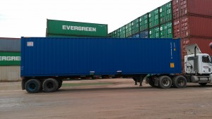 Container on a chassis ready for the rail/port
