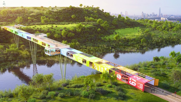 Ecotainer bridge made of containers